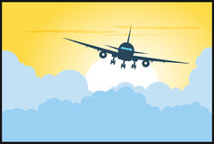 Plane flying in clouds Royalty Free Stock Photos