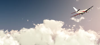 Plane Flying In Daylight. A plane flying high in the daytime sky Royalty Free Stock Photography