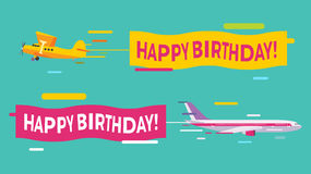 Plane flying with Happy Birthday banners Stock Image