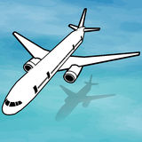 Plane flying high above earth and sky and sea. Vector style stock illustration