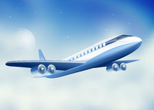 Plane flying high above sky moon Royalty Free Stock Images
