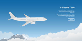 Plane flying high. Picture of a plane flying high above the sky, vacation, holidays tour, plane tickets concept stock illustration