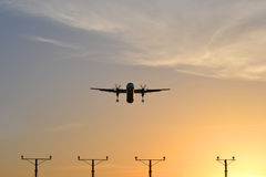 Plane. flying, landing Royalty Free Stock Photos