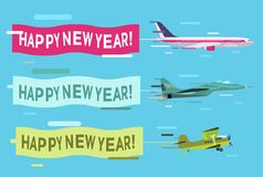 Plane flying with Merry Christmas banners Royalty Free Stock Images