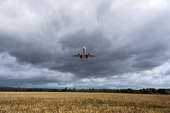 Plane flying over the cornfield Royalty Free Stock Images