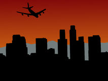Plane flying over Los Angeles. Skyline with mountains illustration Stock Image