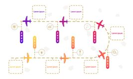 Plane flying roadmap timeline elements with markpoint graph think search gear target icons. vector illustration eps10. Plane flying roadmap timeline elements vector illustration
