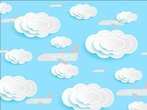 Plane on skies vector. Plane flying on skies and clouds paper deep cut vector art. Background texture stock illustration