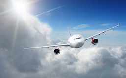Plane Flying in the Sky Stock Image