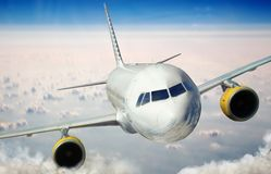 Plane is flying on the sky Royalty Free Stock Photo