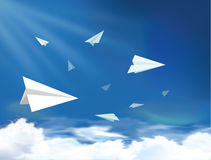 Plane flying on the sky Royalty Free Stock Photo