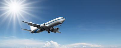 Plane Flying in the Sky Royalty Free Stock Images