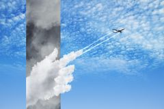 Plane flying from stormy clouds to bright blue sky. Road to success concept with plane flying from stormy clouds with white cloud hand into bright blue sky. 3d Stock Photography