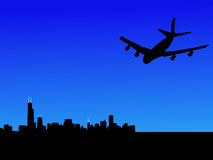Plane flying to Chicago vector illustration