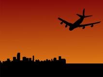 Plane flying to Miami. Four engine plane flying towards Miami at dusk stock illustration