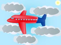 Plane flying to sky Stock Photography