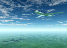 Plane flying into a tourist destination Royalty Free Stock Photo