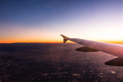 Plane Flying Travel Sunset City Lights Sunrise Sky Ground Mounta Stock Photos