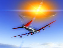 Plane Flying With UFO 58. A plane flying high in the sky  with a glowing UFO chasing the plane and abducting it Stock Photo