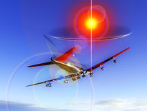 Plane Flying With UFO 63 Royalty Free Stock Photo