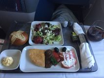 Plane food. In first class aircraft during New York flight Royalty Free Stock Photography