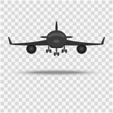 The plane, a front view on a background with a shadow. royalty free illustration