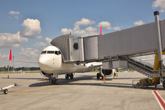 Plane at the gate Royalty Free Stock Image