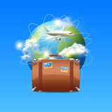 Plane With Globe And Suitcase Stock Images