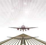 Plane going to take off on an abstract background Stock Images