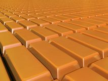 Plane of gold bars stretching to horzion Stock Image