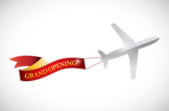 Plane and grand opening ribbon banner illustration Stock Image
