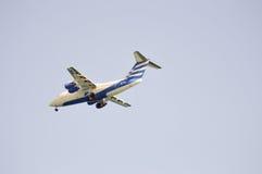 Plane in Greek colors stock photo