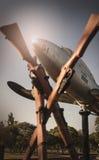Plane and guns at M.O.T.H.S. memorial garden Royalty Free Stock Photos