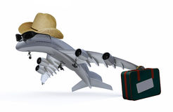 Plane with hat, sunglasses and bag that is leaving stock illustration