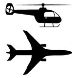 Plane Helicopter Silhouette - Illustration Royalty Free Stock Image