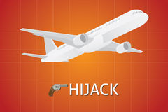 Plane hijack hijacking illustration with gun pistols. Vector illustration Royalty Free Stock Image
