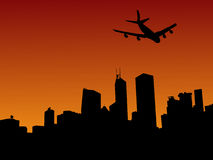 Plane and Hong Kong skyline. Four engine plane flying over Hong Kong skyline at sunset illustration Stock Photo