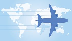 Plane hovering over the world map. Vector illustration. The plane hovers over the world map. Vector flat illustration Royalty Free Stock Image