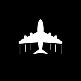 Plane icon. Airplane flat vector illustration on grey background Stock Photography