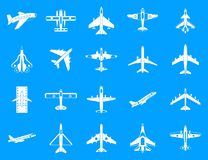 Plane icon blue set vector. Plane icon set. Simple set of plane vector icons for web design isolated on blue background Stock Images