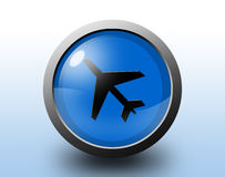 Plane icon. Circular glossy button. Royalty Free Stock Photos