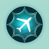 Plane icon magical glassy sunburst blue button sky blue background vector illustration