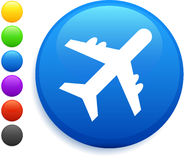 Plane icon on round internet button Royalty Free Stock Images