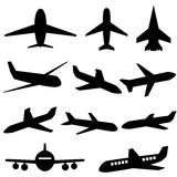 Plane icons. In black on white background Royalty Free Stock Photo