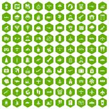 100 plane icons hexagon green. 100 plane icons set in green hexagon isolated vector illustration Stock Photography