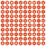 100 plane icons hexagon orange. 100 plane icons set in orange hexagon isolated vector illustration Royalty Free Stock Photo