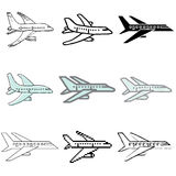 Plane icons set. White plane icons vector set vector illustration
