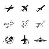 Plane icons set. Black on a white background Royalty Free Stock Image