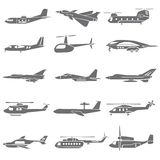 Plane icons. Set of 20 plane icons, fighting plane Stock Photos