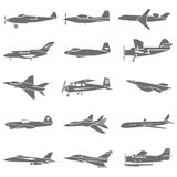 Plane icons. Set of 20 plane icons, fighting plane Stock Photography